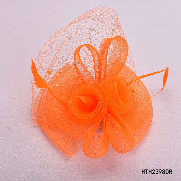 ORANGE FASCINATOR WITH FEATHER MESH ( 2398 )