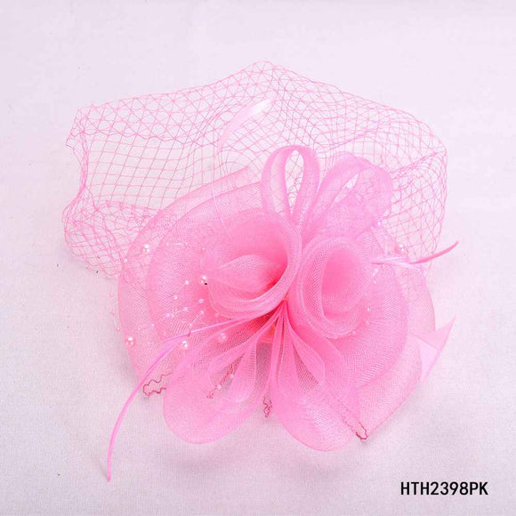 PINK FASCINATOR WITH FEATHER MESH ( 2398 )