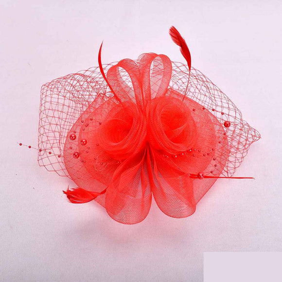RED FASCINATOR WITH FEATHER MESH ( 2398 )