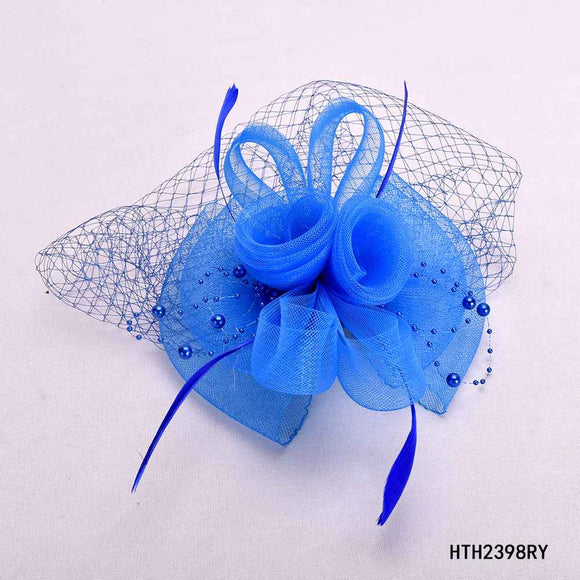 ROYAL BLUE FASCINATOR WITH FEATHER MESH ( 2398 )
