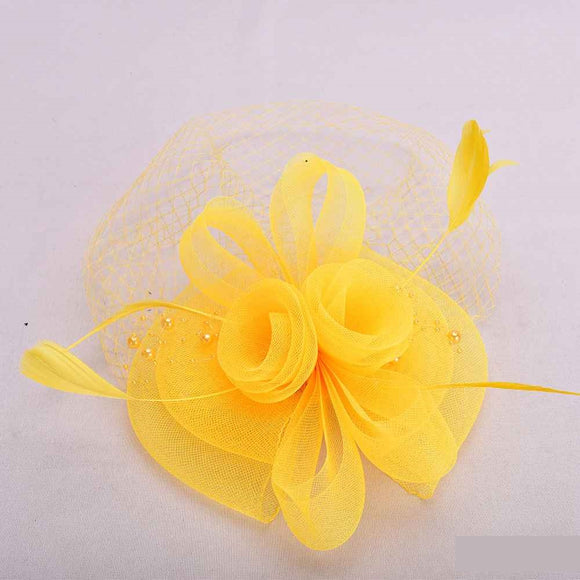 YELLOW FASCINATOR WITH FEATHER MESH ( 2398 )