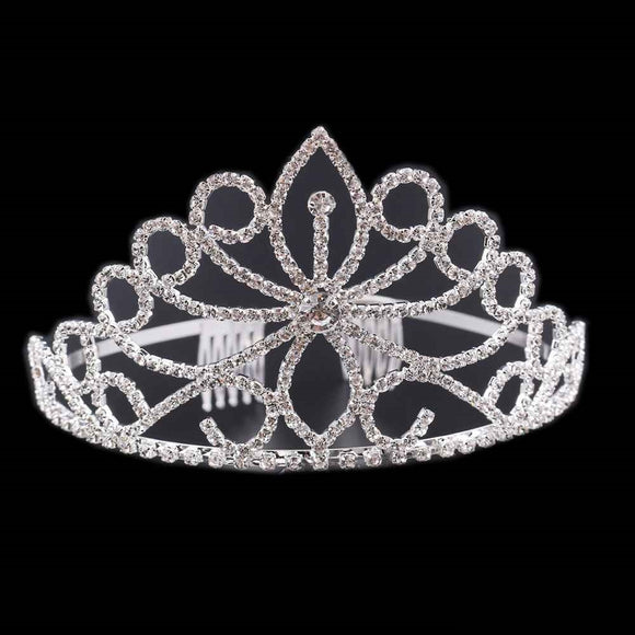 SILVER TIARA WITH CLEAR STONES 2.75