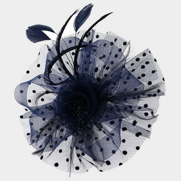 Navy Blue Net Feather and Pearl Fascinator ( 2180 )