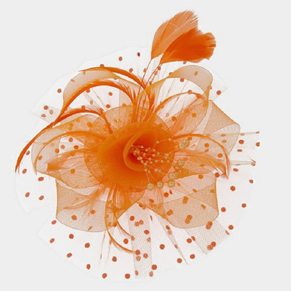 Orange Net Feather and Pearl Fascinator ( 2180 )