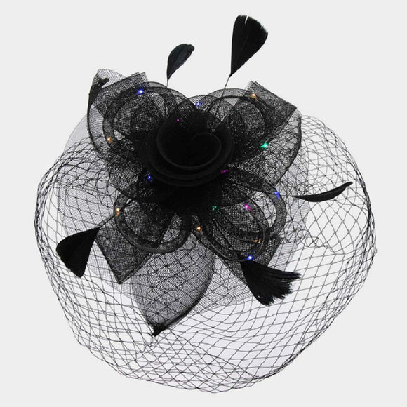 Black Mesh Net Feather LED Light Fascinator ( 2196 )
