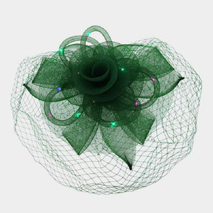 Green Mesh Net Feather LED Light Fascinator ( 2196 )