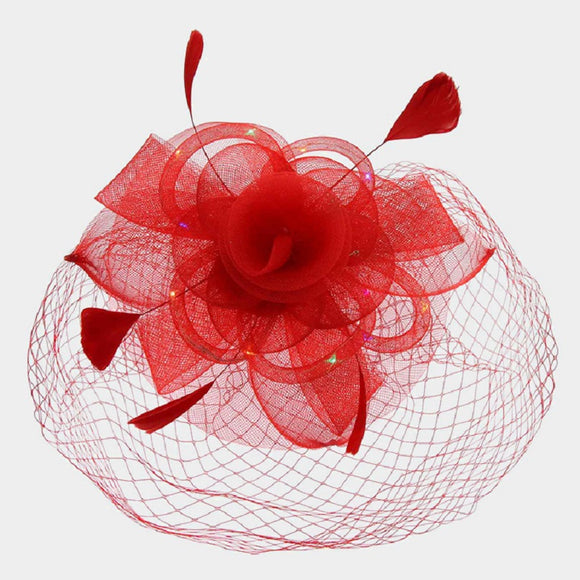 Red Mesh Net Feather LED Light Fascinator ( 2196 )