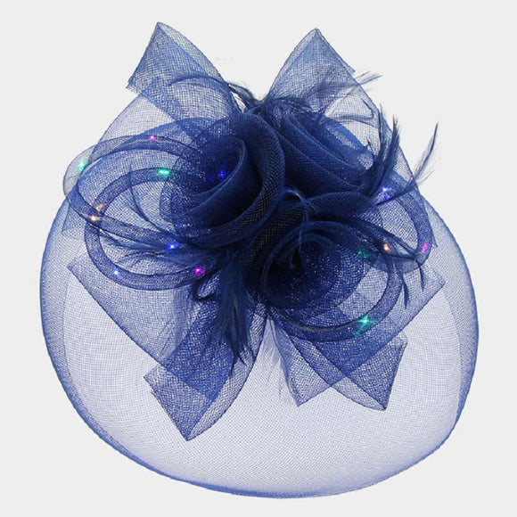 Navy Blue Mesh Net Feather LED Light Fascinator ( 2197 )