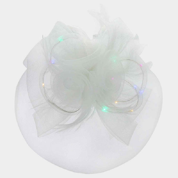 White Mesh Net Feather LED Light Fascinator ( 2197 )