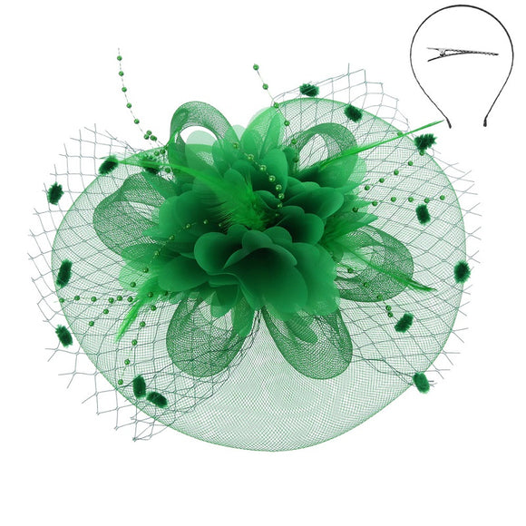 Green Net and Feather Fascinator ( 2221 )