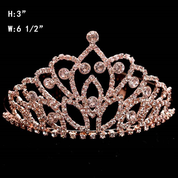 ROSE GOLD TIARA WITH CLEAR STONES 3