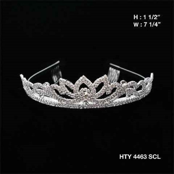 SILVER TIARA WITH CLEAR STONES 1.5