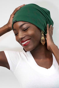 Green Beanie Hat Lined with Satin ( 7001 )