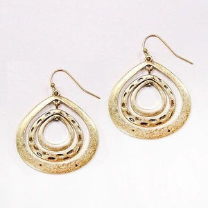 Worn Gold Color Triple Teardrop Dangling Earrings