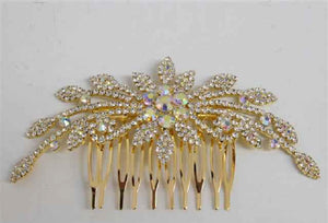 Gold Clear and AB Crystal Formal Hair Comb Accessory ( 3145 GAB )