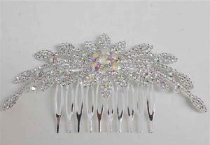 Silver Clear and AB Crystal Formal Hair Comb Accessory ( 3145 SAB )