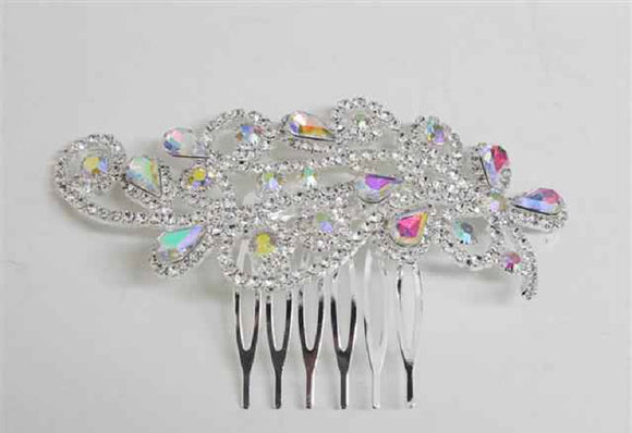 Silver Clear and AB Crystal Formal Hair Comb Accessory ( 3453 )