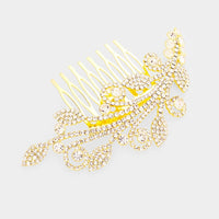 Gold Clear Rhinestone Hair Comb ( 3555 )
