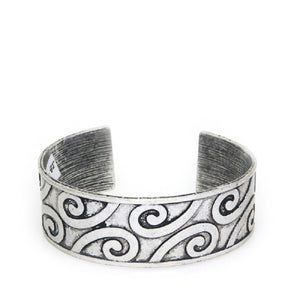 Burnish Silver Metal Cuff Wave Design Cuff Bracelet ( 0683 )