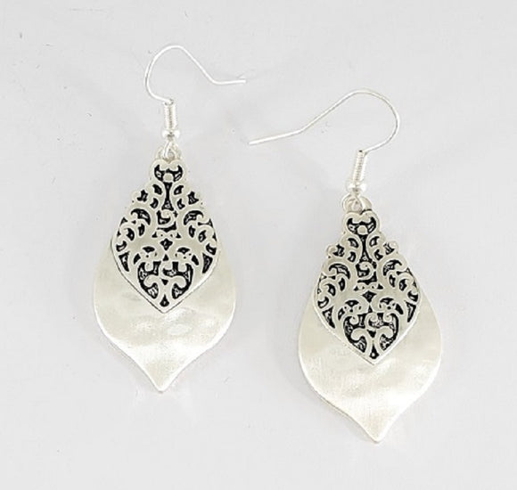 WORN SILVER EARRINGS FILIGREE DETAILS ( 1414 )