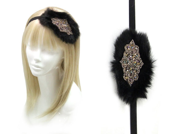BLACK FAUX FUR HEADBAND WITH TOPAZ CRYSTALS ( 0329 )