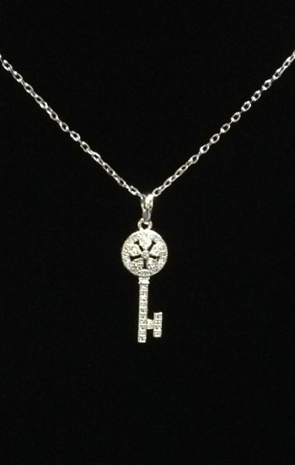 SILVER NECKLACE WITH CZ KEY PENDANT ( 02229 )