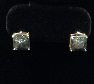 GOLD AND BLACK SQUARE CZ EARRINGS ( 9039 )