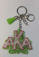 GREEN PUFFY AKA KEY CHAIN WITH PINK GREEN CLEAR STONES ( 04 )