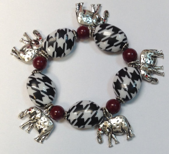 HOUNDSTOOTH STRETCH BRACELET WITH ELEPHANTS ( 2057 )