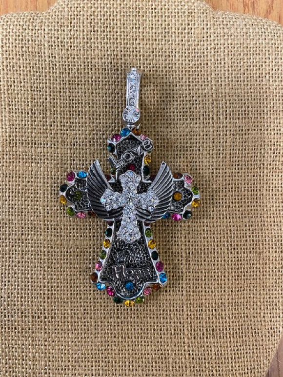 LARGE SILVER CROSS PENDANT MULTI COLOR STONES ( 10751 5MX )