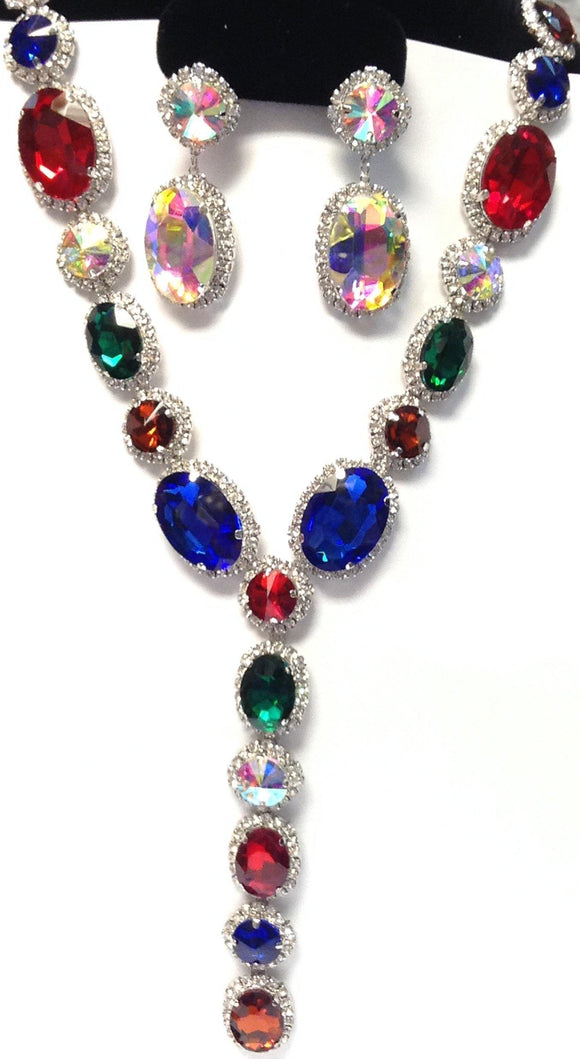 LONG SILVER NECKLACE SET MULTI COLOR OVAL STONES ( 2048 RHMT ) - Ohmyjewelry.com