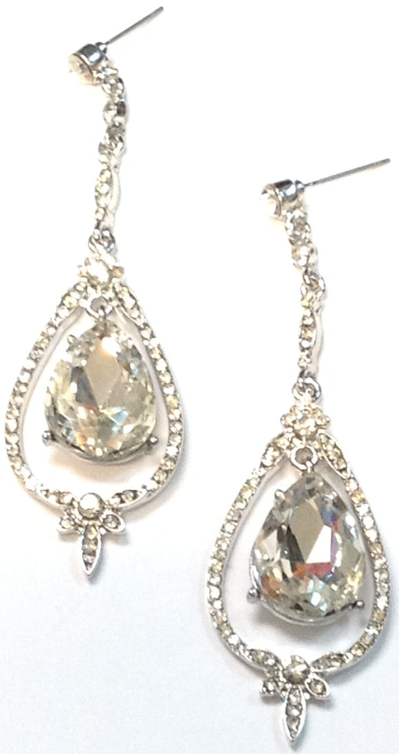 SILVER DANGLING EARRINGS CLEAR STONES ( 1091 )