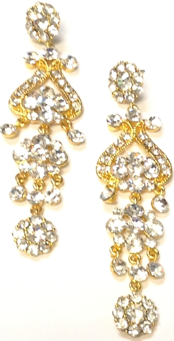 GOLD DANGLING CHANDELIER EARRINGS CLEAR STONES ( 03387 )