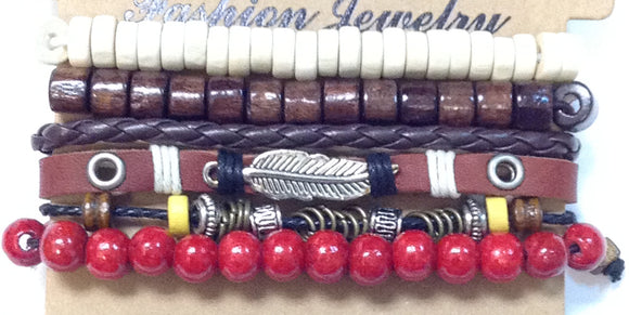 LEATHER WOOD BEAD BRACELET SET ( 8110 )