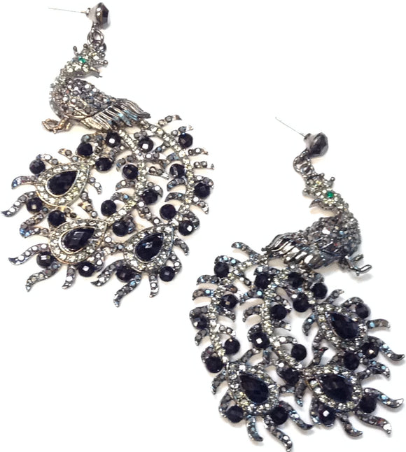 HEMATITE PEACOCK EARRINGS BLACK STONES ( 16368 )