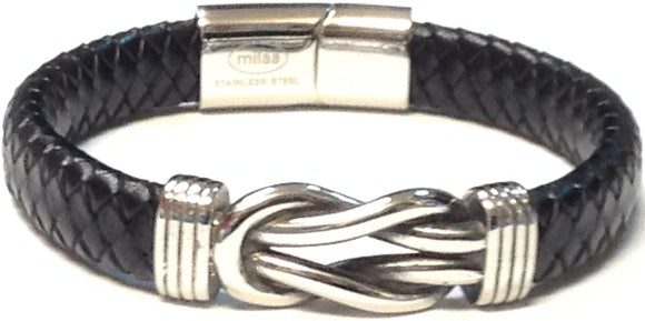 LEATHER BLACK SILVER BRACELET ( 032 )