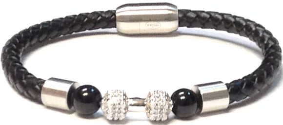 SILVER BLACK LEATHER BRACELET DUMBBELL ( 072 )