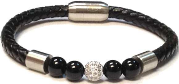 SILVER BLACK LEATHER BRACELET BALL ( 068 )