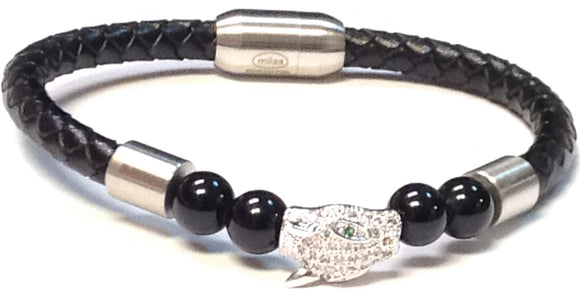 SILVER BLACK LEATHER BRACELET ANIMAL HEAD ( 069 )