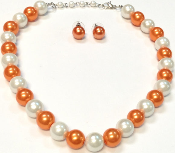 SINGLE STRAND ORANGE WHITE PEARL NECKLACE SET ( 0002 )