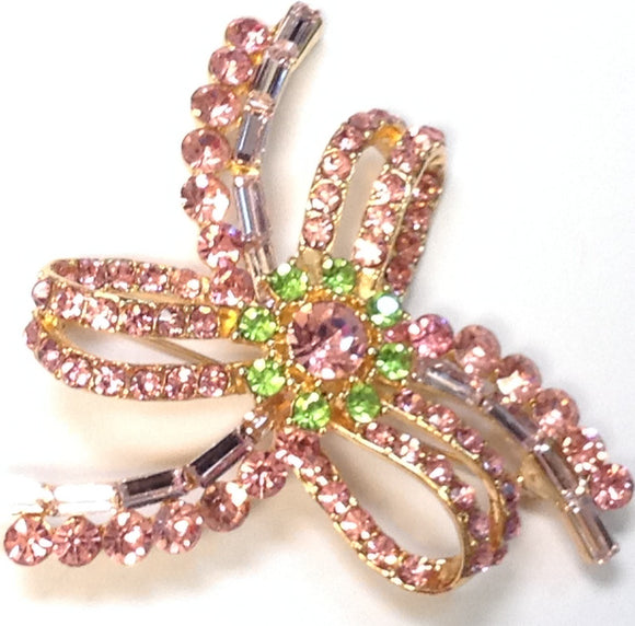 GOLD BOW BROOCH PINK GREEN STONES ( 1350 )