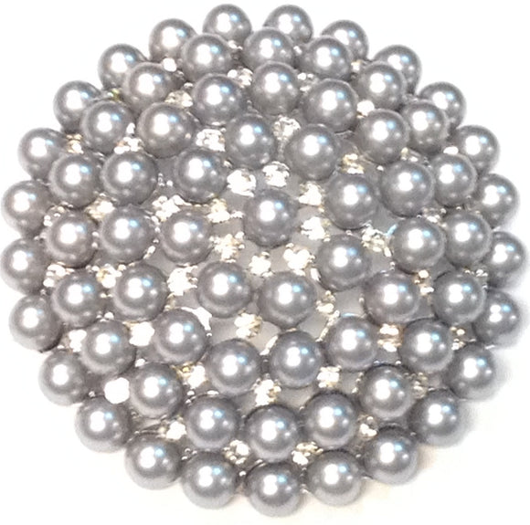 SILVER BROOCH CLEAR RHINESTONES GRAY PEARLS ( 06691 )