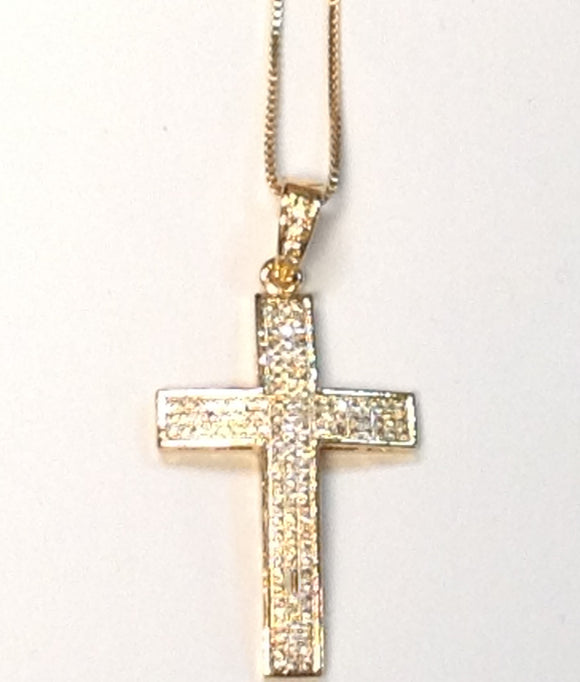 GOLD CROSS NECKLACE CZ STONES ( 0021 )