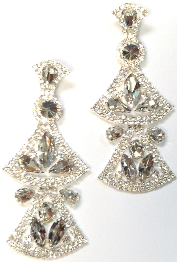 LARGE SILVER EARRINGS CLEAR STONES ( 0282 )