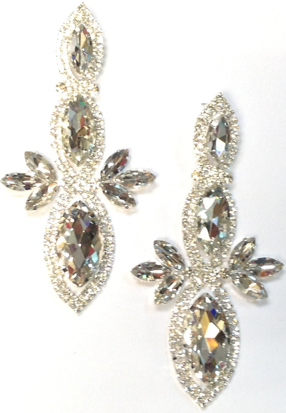 LARGE SILVER EARRINGS CLEAR STONES ( 0280 )