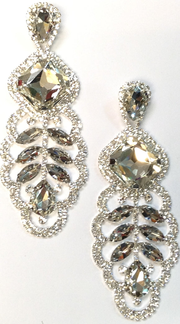 LARGE SILVER EARRINGS CLEAR STONES ( 0279 )