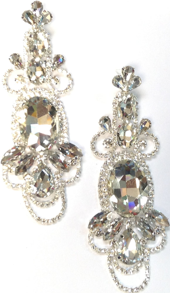 LARGE SILVER EARRINGS CLEAR STONES ( 0281 )