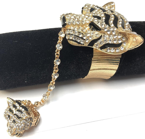 GOLD TIGER STRETCH BRACELET WITH RING ( 376 2CL )