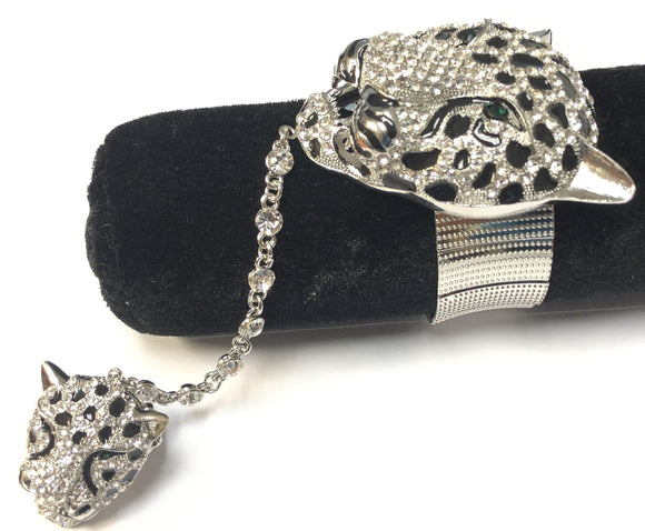 SILVER LEOPARD STRETCH BRACELET WITH RING ( 377 3CL ) - Ohmyjewelry.com