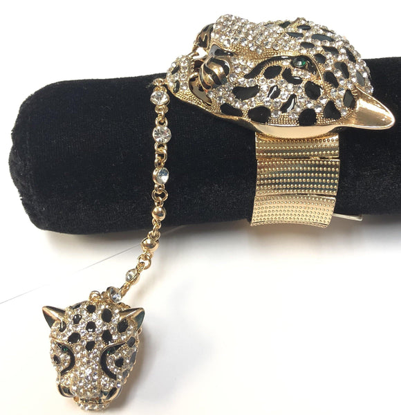 GOLD LEOPARD STRETCH BRACELET WITH RING ( 377 2CL )
